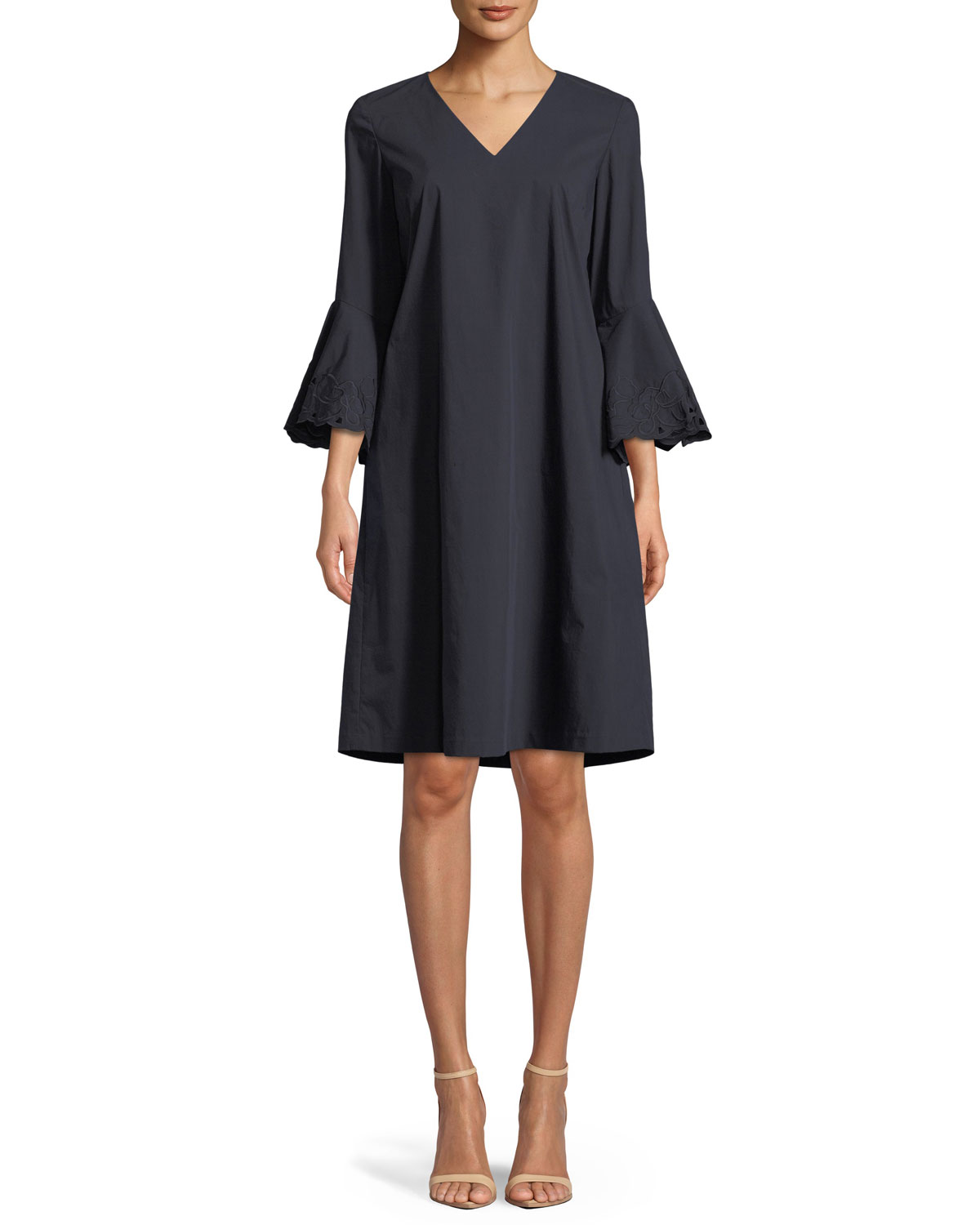 Holly Expedition-Cloth Ruffle-Cuff Shift Dress