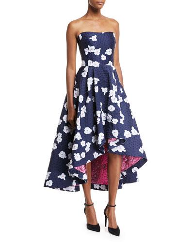 Paladino Floral Brocade High-Low Cocktail Dress