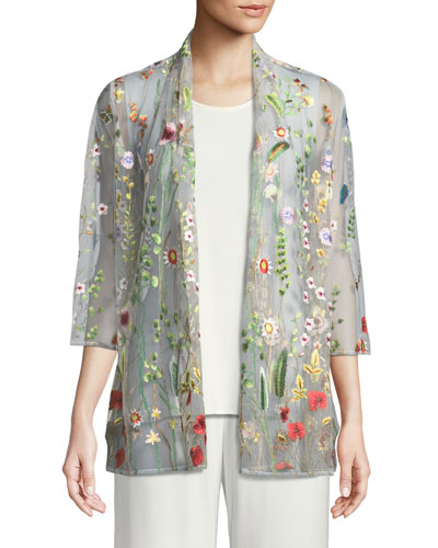 Petite Garden Walk Embroidered Mesh Cardigan