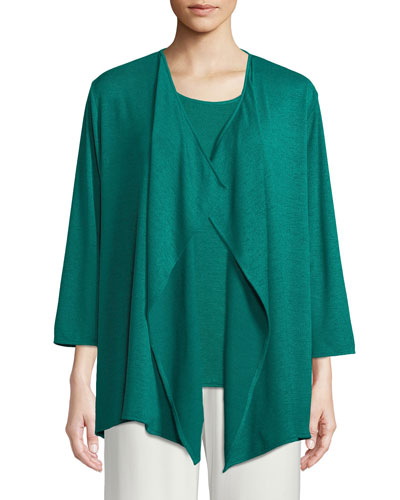 Gauze Knit Draped Cardigan, Petite