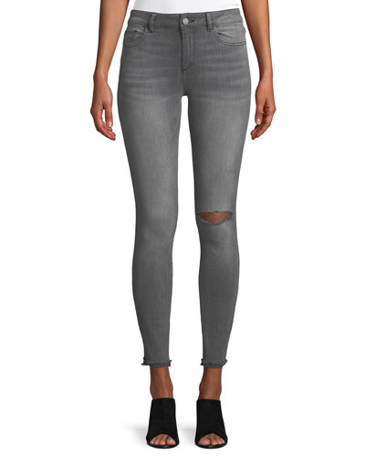 Emma Denim Power Legging Jeans with Slashed Knee