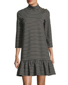 mock-neck stripe knit mini dress