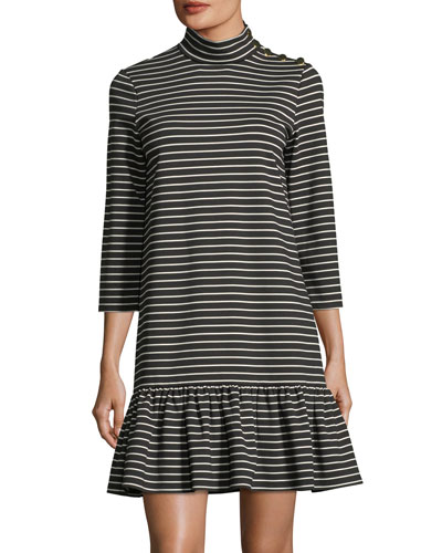 mock-neck stripe knit mini dress