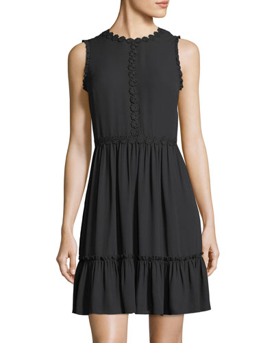 floral lace trim sleeveless mini dress