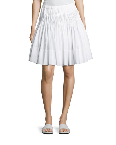 Pleated Knee-Length Skirt with Braided Waist