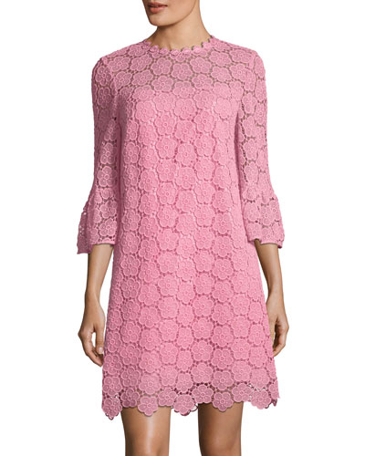 bloom flower bell-sleeve lace dress