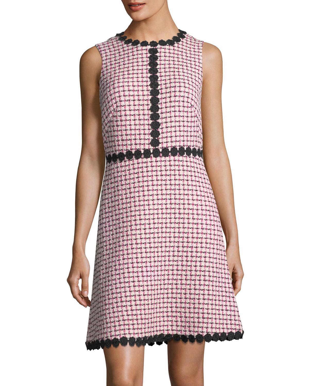 multi-tweed sleeveless mini dress