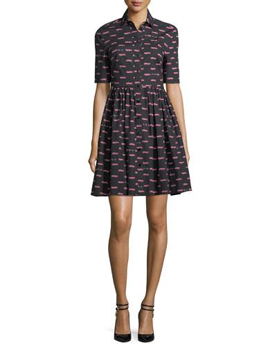 hot rod poplin mini a-line dress