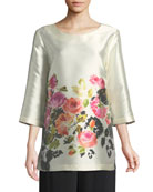 Flower Girl Printed Tunic, Plus Size