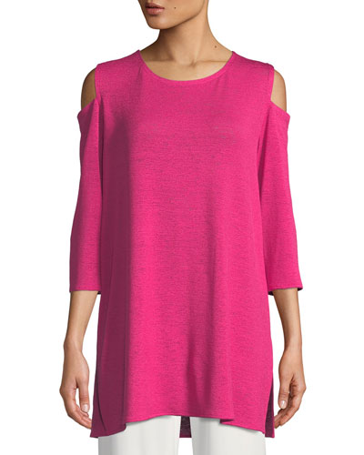 Gauze Knit Cold-Shoulder Tunic, Petite