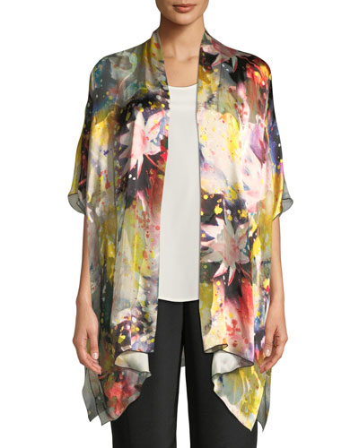 Caroline Rose  WILD FLOWER SILK-BLEND ONE-SIZE CAFTAN CARDIGAN, PLUS SIZE