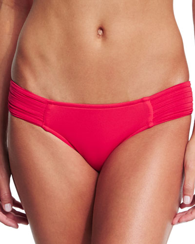 Pleated-Side Hipster Swim Bottom