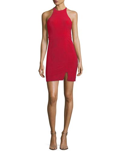 Halter-Neck Cutout-Back Mini Cocktail Dress