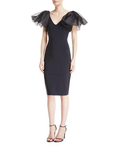 Firoenza Organza-Sleeve Sheath Dress