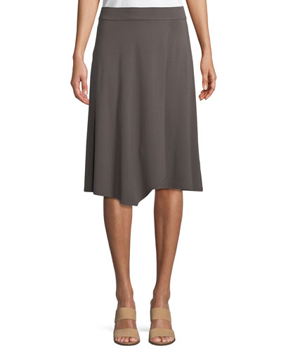 Knee-Length Jersey Faux-Wrap Skirt, Petite