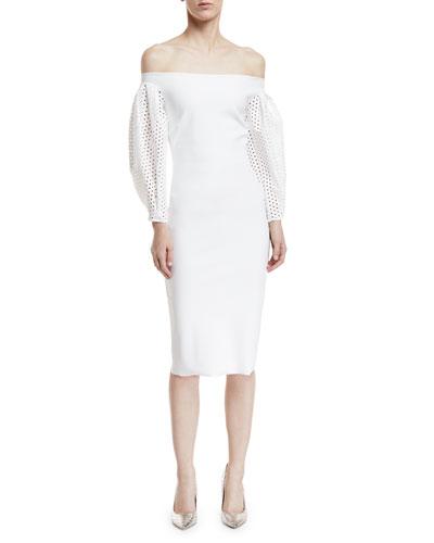 Anonna Eyelet-Sleeve Cocktail Sheath Dress