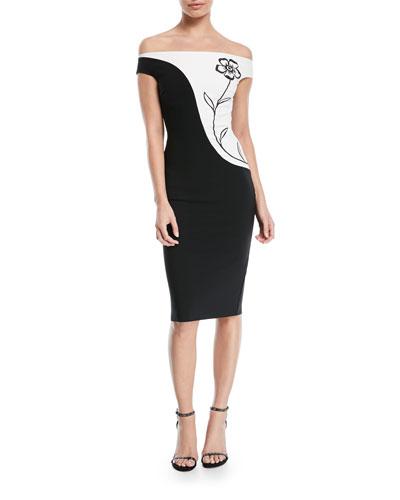 Shalia Floral Off-the-Shoulder Two-Tone Cocktail Dress