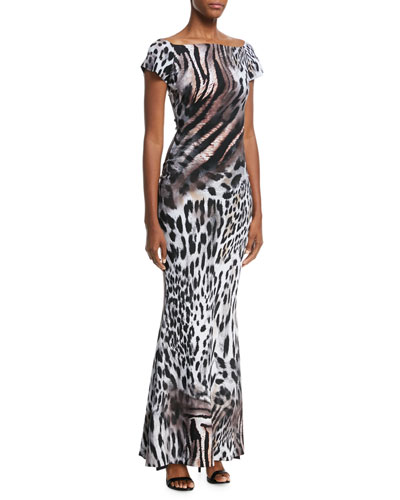 Sita Animal-Print Short-Sleeve Gown