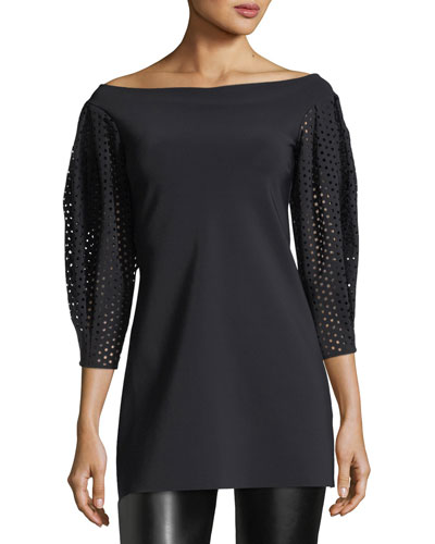 Arline Eyelet-Sleeve Fitted Tunic