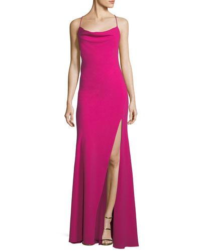 Crepe Crisscross-Back Sleeveless Gown
