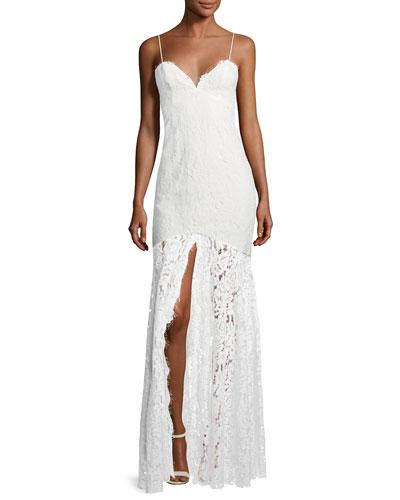 Babe Lace Front-Slit Sleeveless Dress