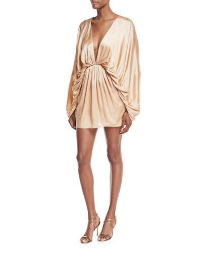 Charmian Satin Plunging Mini Dress