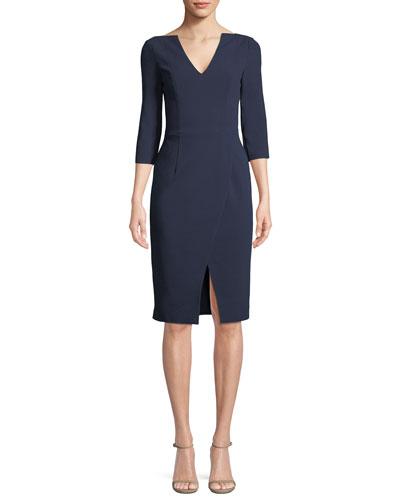 Oklahoma V-Neck Center-Slit Sheath Dress