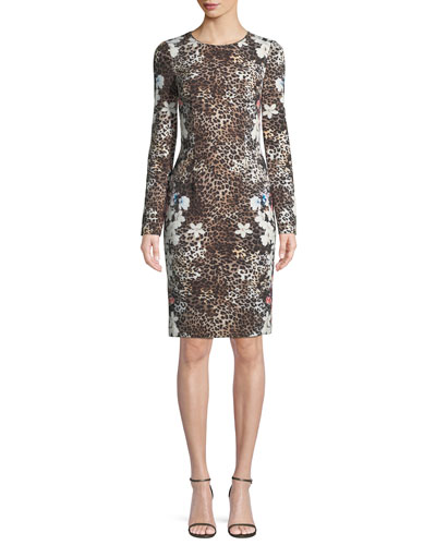 Erika Animal-Print Long-Sleeve Dress