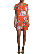 Short-Sleeve Open-Back Floral-Print Short Dress