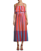 Sleeveless Striped Pleated Maxi Dress