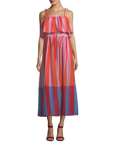 Sleeveless Striped Pleated Maxi Dress
