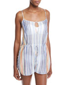 Diane von Furstenberg Keyhole Sleeveless Striped Cotton-Silk