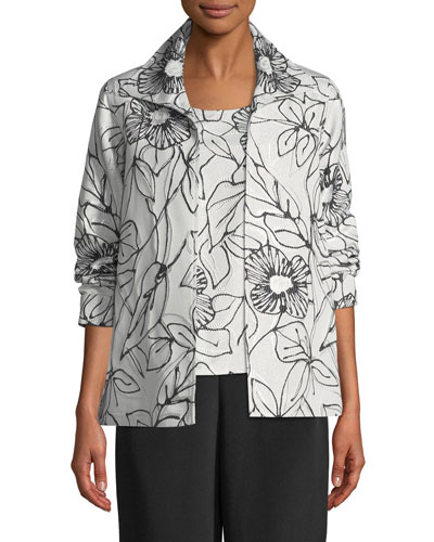 Frivolous Floral A-line Topper Jacket, Plus Size