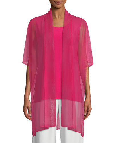 Illusion Mesh Caftan Cardigan, Plus Size