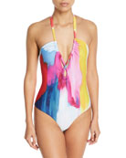 Aya Brushstroke-Print Halter One-Piece Swimsuit