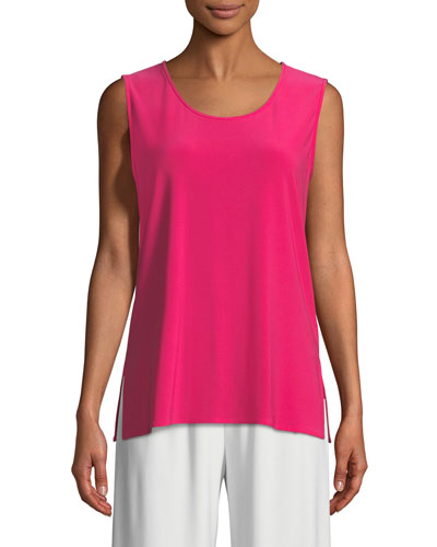 Sleeveless Long Stretch Knit Tank, Plus Size