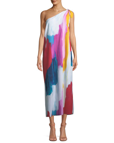 Clara One-Shoulder Watercolor-Print Coverup Maxi Dress