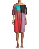 Lula Tonal-Striped Colorblock Coverup Dress