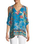 Betimo Cold-Shoulder Floral-Print Silk Blouse, Plus Size