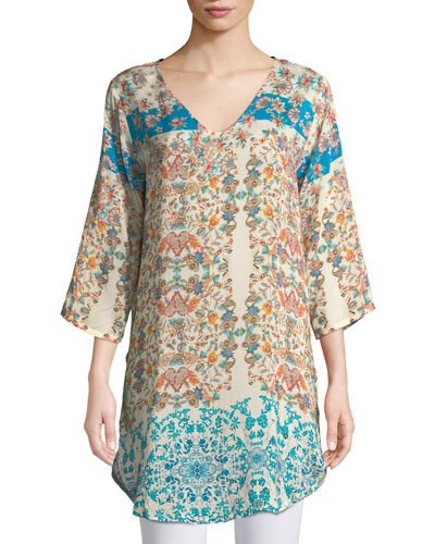 Betty Half-Sleeve Floral-Print Blouse