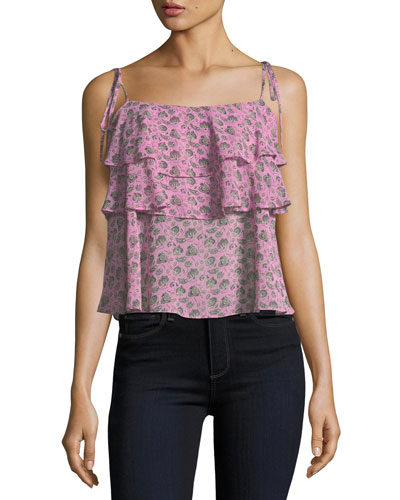 Atlas Square-Neck Floral-Print Tiered Top
