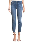Skinny Ankle Jeans w/ Angled Raw-Edges