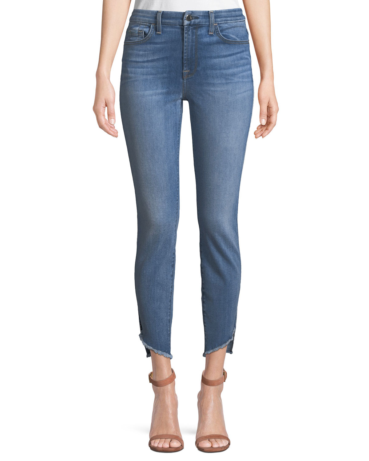 JEN7 SKINNY ANKLE JEANS W/ ANGLED RAW-EDGES