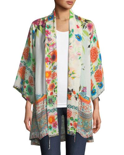 Spring Border Floral-Print Kimono Jacket, Plus Size