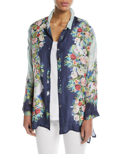 Madeline Floral Silk Button-Front Top