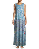Greidon Sleeveless Graphic-Print Maxi Dress