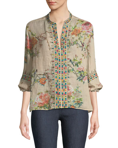 Paris Effortless Floral-Print Embroidered Top