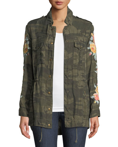 Brenna Embroidered Bomber Jacket, Plus Size