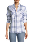 Pepper Button-Front Long-Sleeve Plaid Shirt