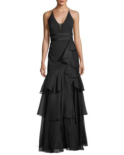 Sleeveless Tiered Chiffon Gown